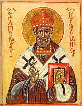 Святой Амвросий Медиоланский (икона, школа иконописи в Сериате, 1990)